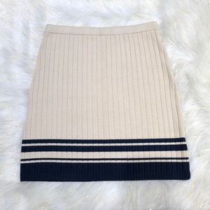Tory Burch Tan Navy Ribbed Sweater Skirt S